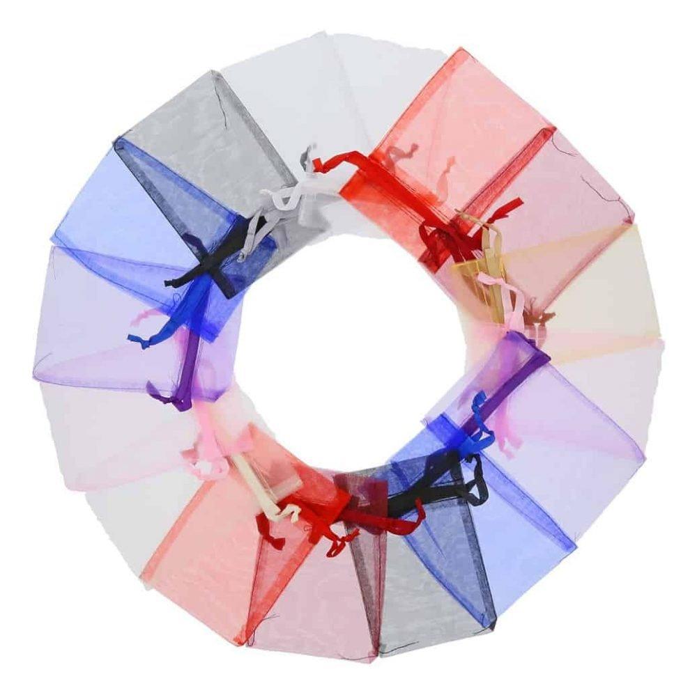 Pequenos sacos de organza e fita em cetim 10x15cm cores differentes