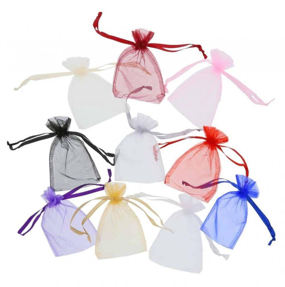 Pequenos sacos de organza e fita em cetim 10x15cm cores differentes (3)