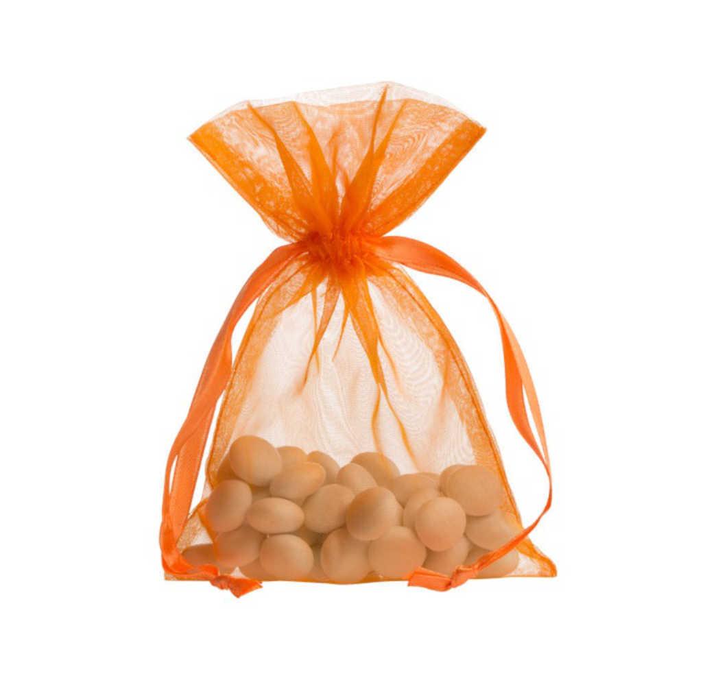 Pequenos sacos de organza 10x15cm laranga