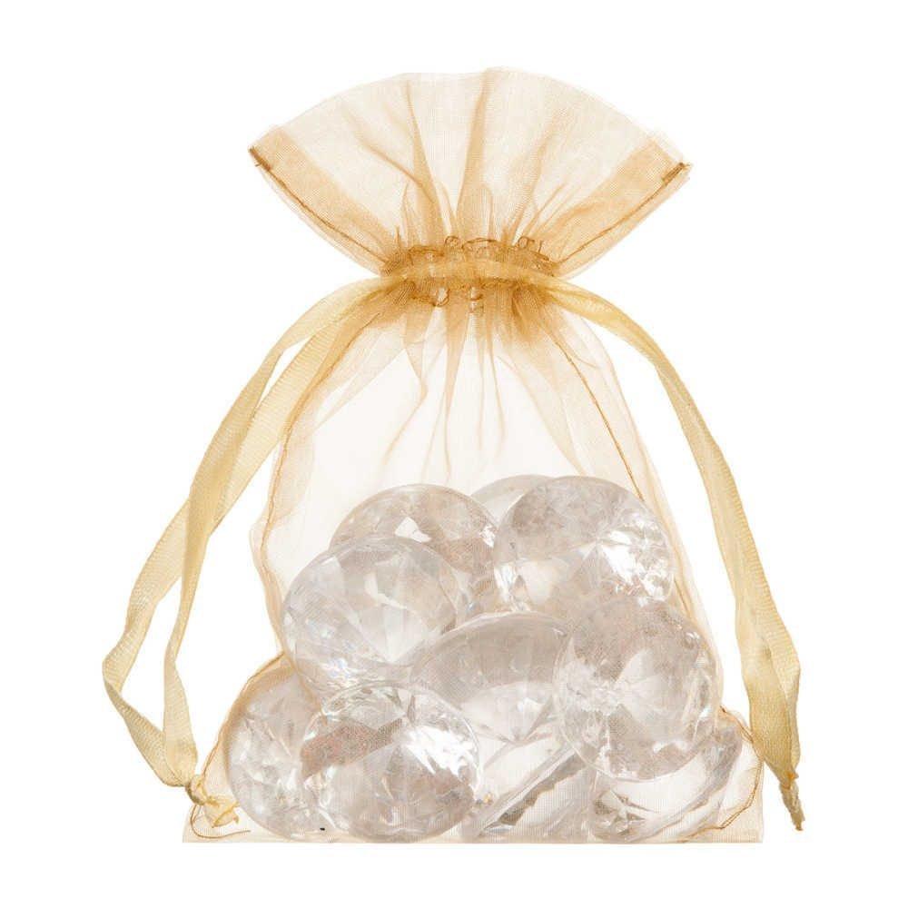 Pequenos sacos de organza 10x15cm ouro