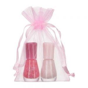 Pequenos sacos de organza rosa 10x15cm