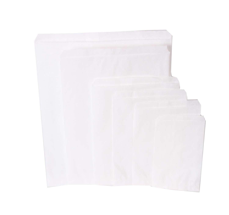 1000 peças Sacos de papel Branco escolha de vários tamanhos