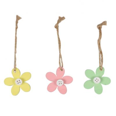 24 Pedaços De Etiqueta De Flor De Madeira Com Corda 5x5cm Escolha Sua Cor