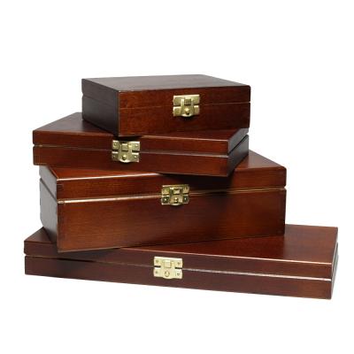 Caixas de madeira FSC com tampa externa lacada A4, A5, A6 em preto ou marrom